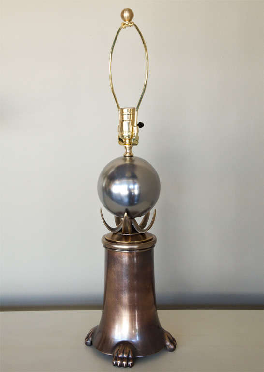 Mid-Century Brutalist Pair of Brass and Polished Nickel Table Lamps 5