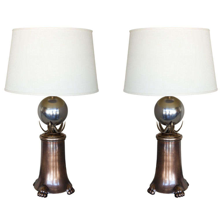 Mid-Century Brutalist Pair of Brass and Polished Nickel Table Lamps 1