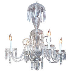 Venetian Glass and Crystal Four-Light Chandelier