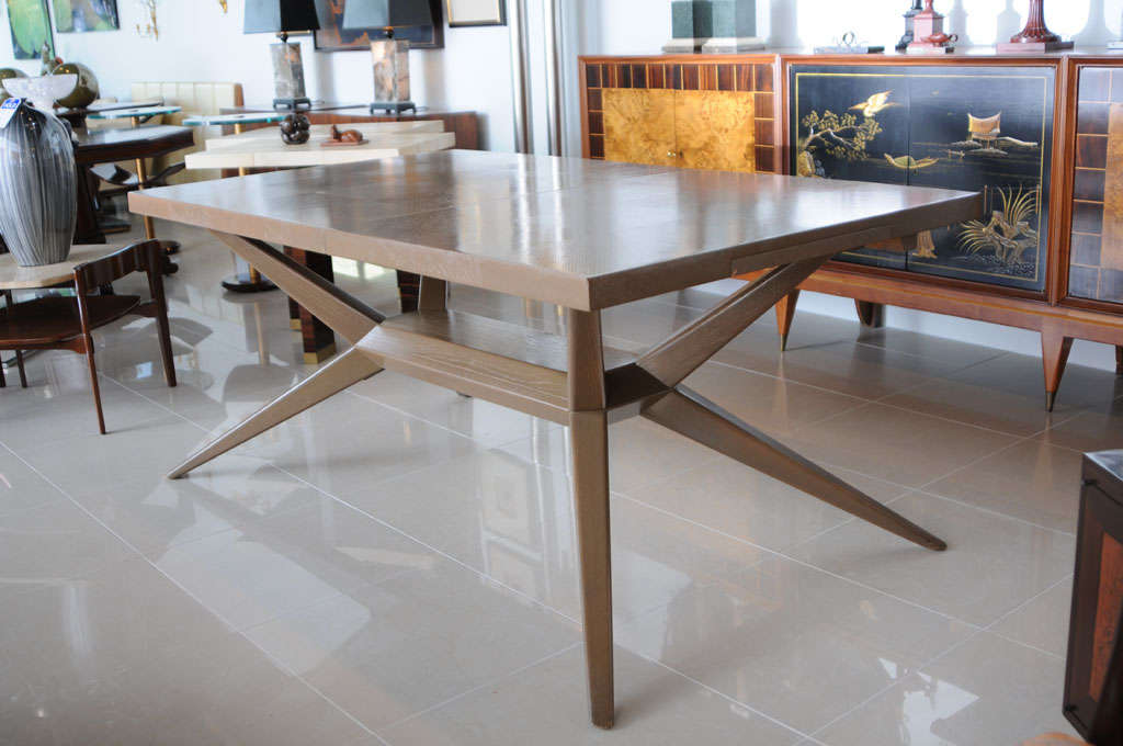 A rectangular limed oak dining table w 2 leaves by romweber at 1stdibs - Limed oak dining tables ...