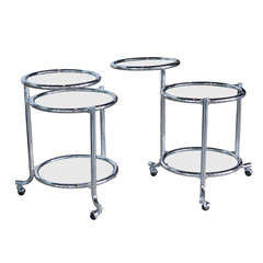 Single Chrome Rolling Swivel Side Table Attributed to Gilbert Rohde