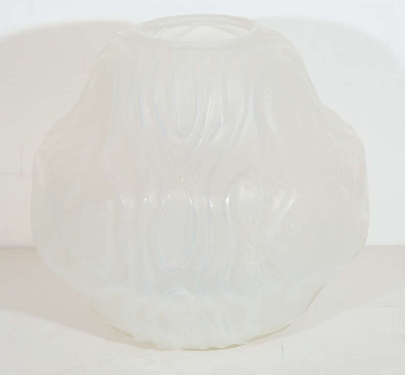 Art Glass Gorgeous French Art Deco Frosted Glass Vase by Hunnebelle For Sale