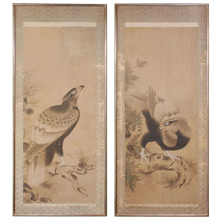 Antique Japanese Scroll: Japanese Hawk Scrolls At 1stdibs