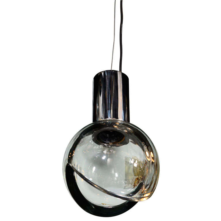 Seguso Grey Glass Globe Pendant Light