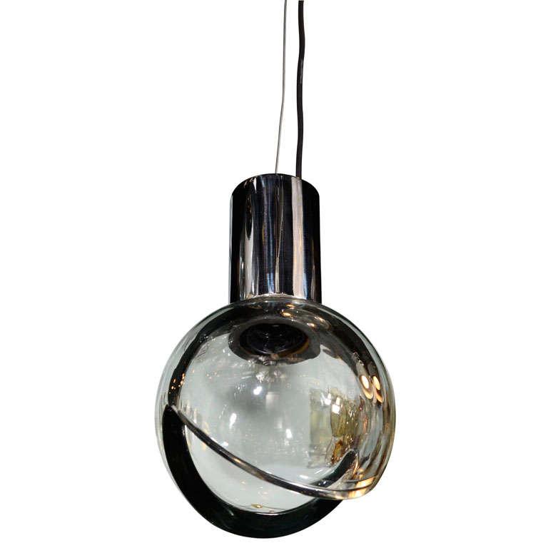 Pendant Light Sale: Seguso Grey Glass Globe Pendant Light For Sale At 1stdibs