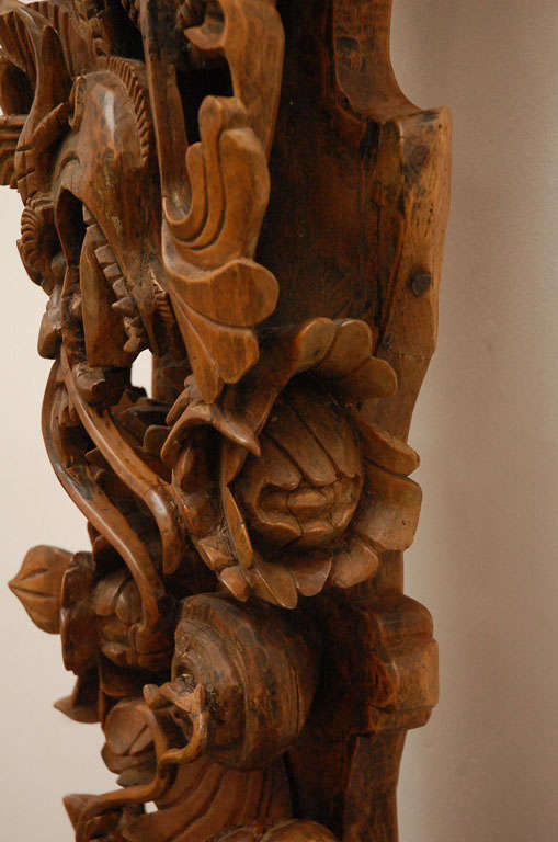 Double dragons hand carved wood relief panel at stdibs