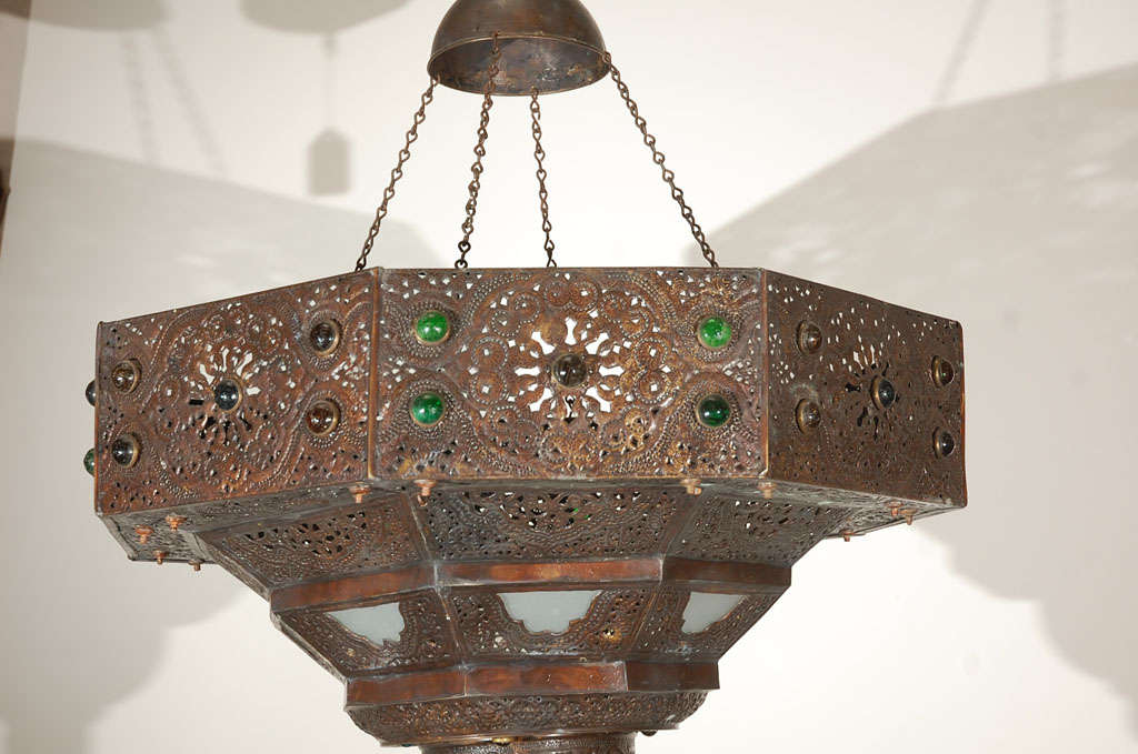 Large Antique Turkish Chandelier In Good Condition For Sale In Los Angeles,  CA - Large Antique Turkish Chandelier At 1stdibs