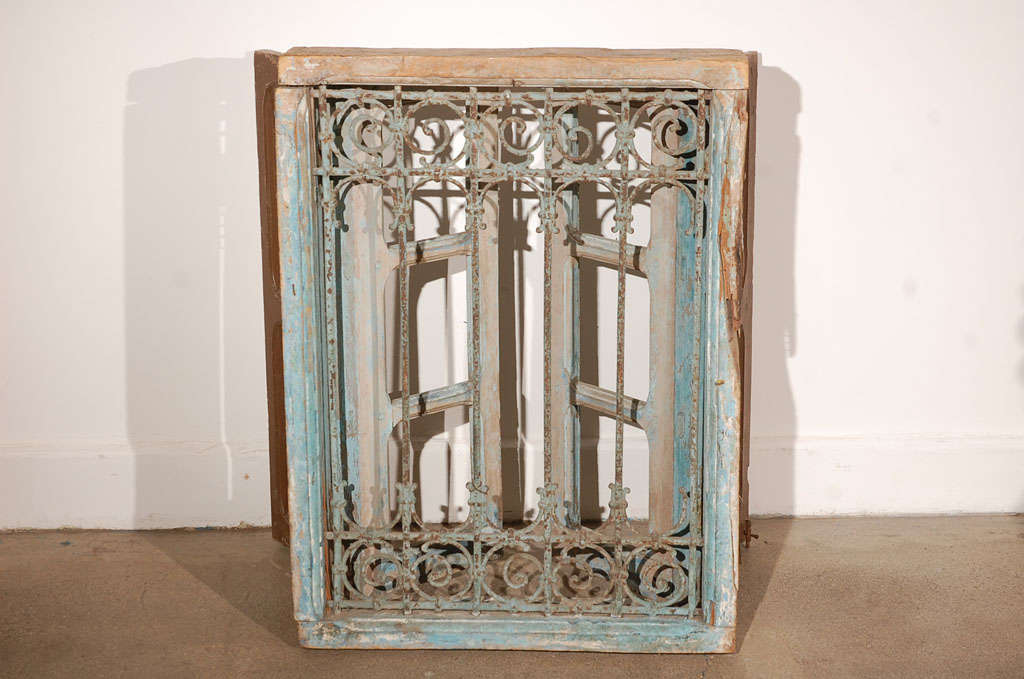 Antique Moroccan Window With Iron Screen At 1stdibs