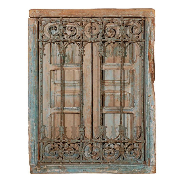Antique moroccan window with iron screen at 1stdibs for Window screens for sale