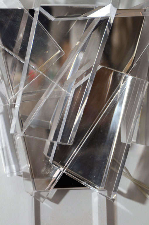 Acrylic Block Sconces In Excellent Condition For Sale In New York, NY