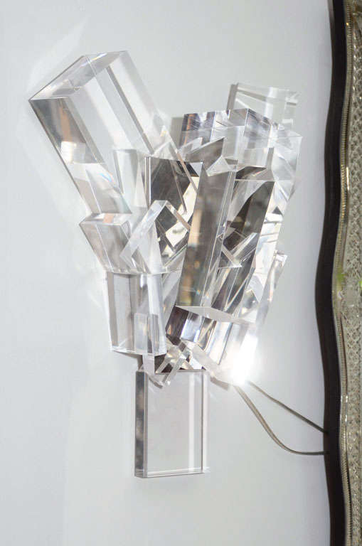 Acrylic Block Sconces For Sale 1