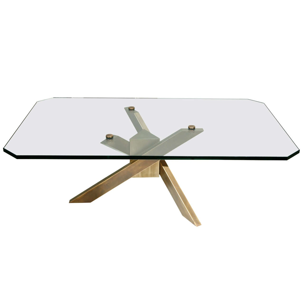 Coffee table with architectural base and glass top at 1stdibs for Architectural coffee table