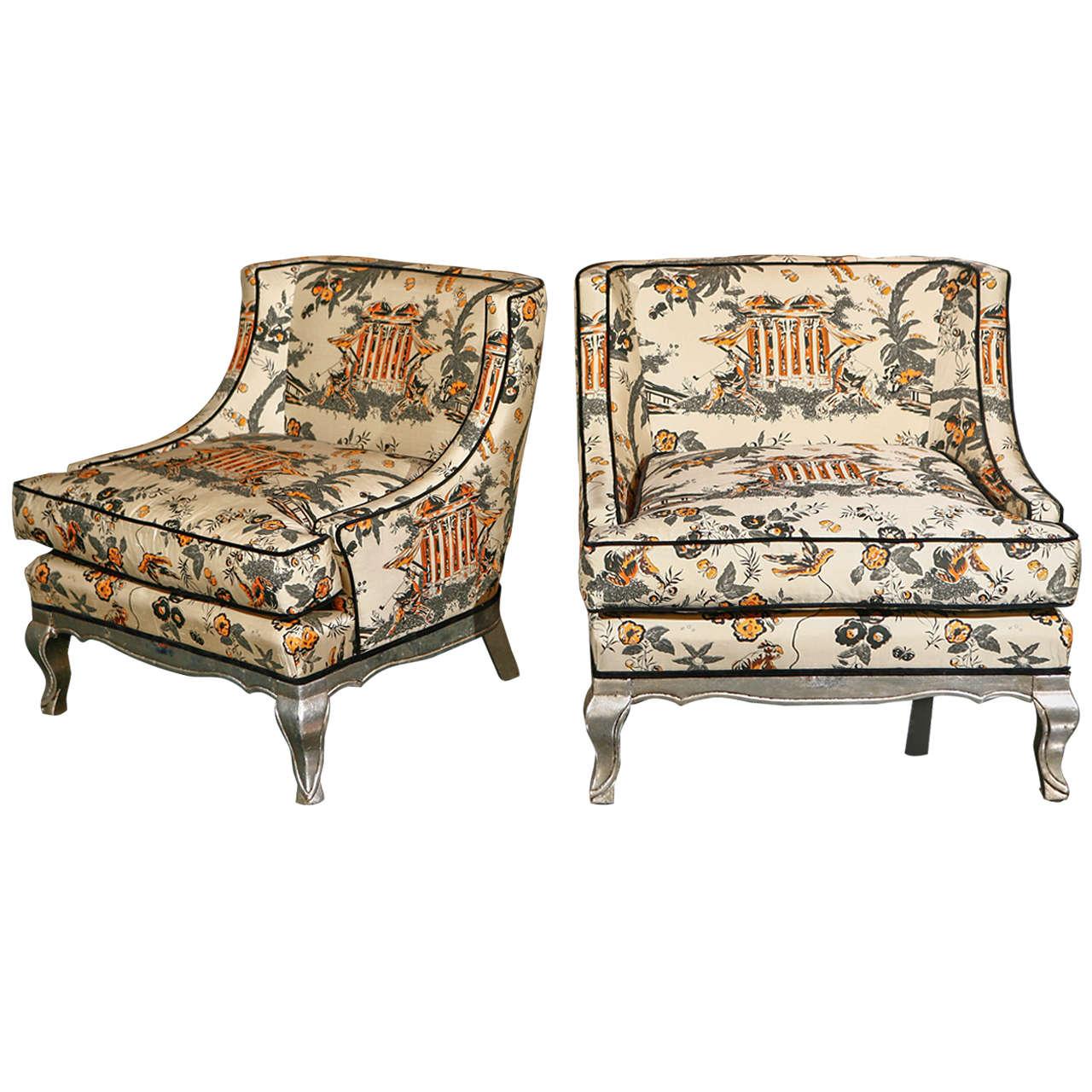 Pair Of Art Deco Silk Chinoiserie Chairs 1