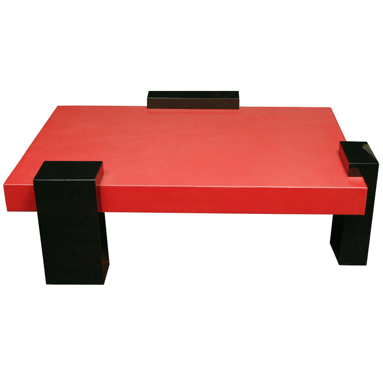 Modernistic Coffee Table In Red Leather For Sale At 1stdibs