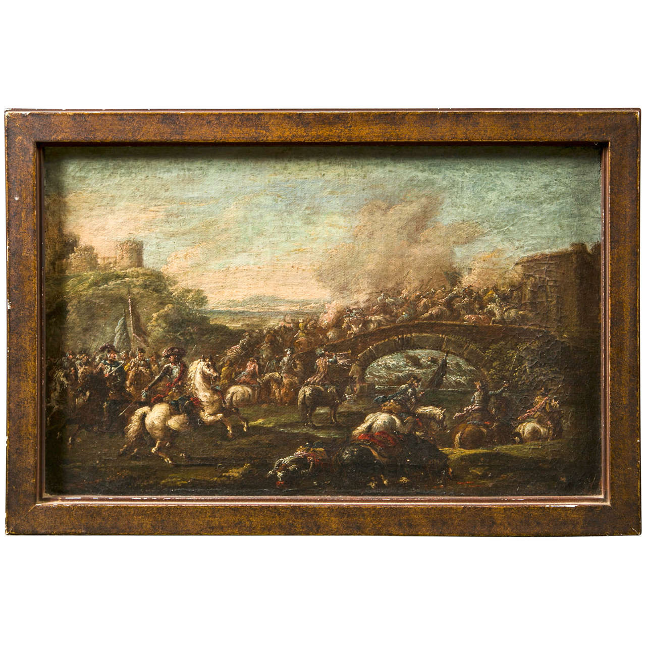 "Late 17th Century Italian Oil on Canvas ""Battle Scene on a Bridge"""