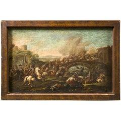 "Francesco Graziani, Italian Oil on Canvas ""Battle Scene on a Bridge"""