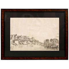 Late 18th Early-19th Century French Drawing View of Rome