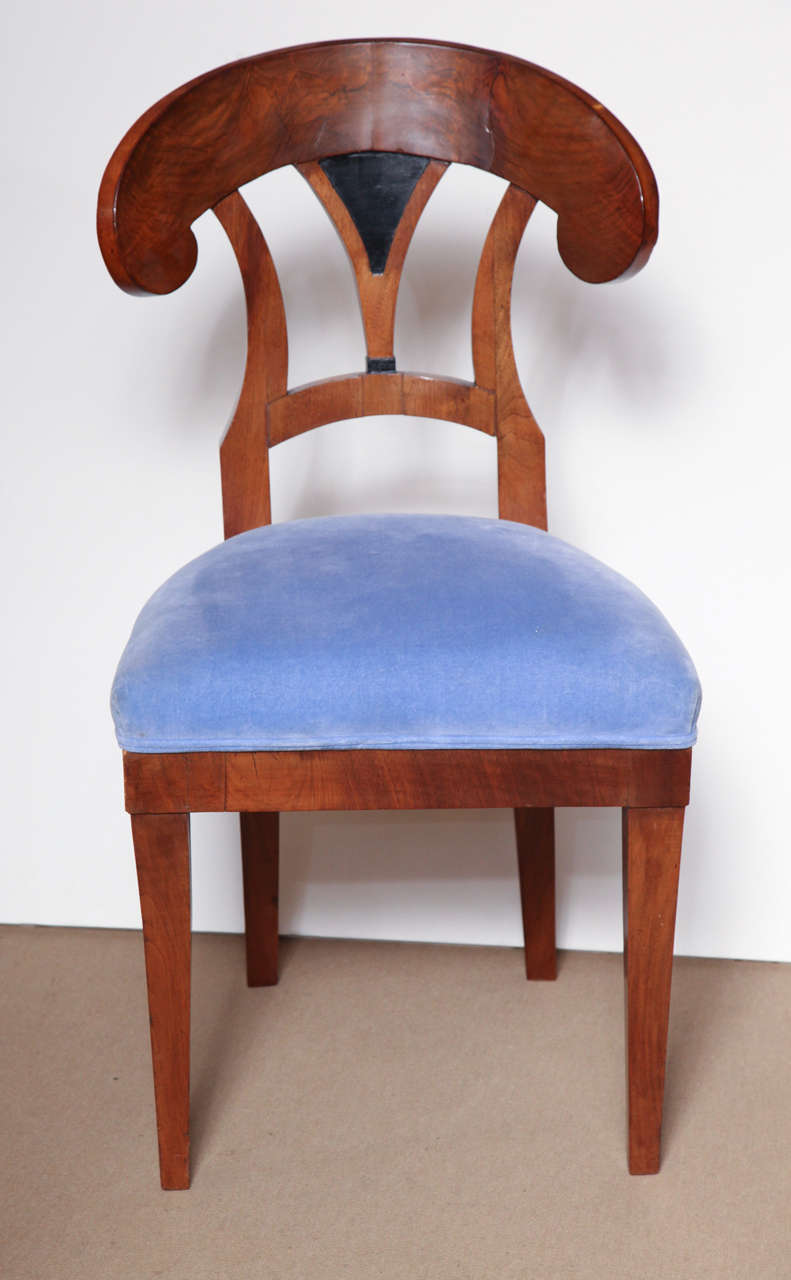 German Early 19th Century Biedermeier, Walnut Side Chair For Sale
