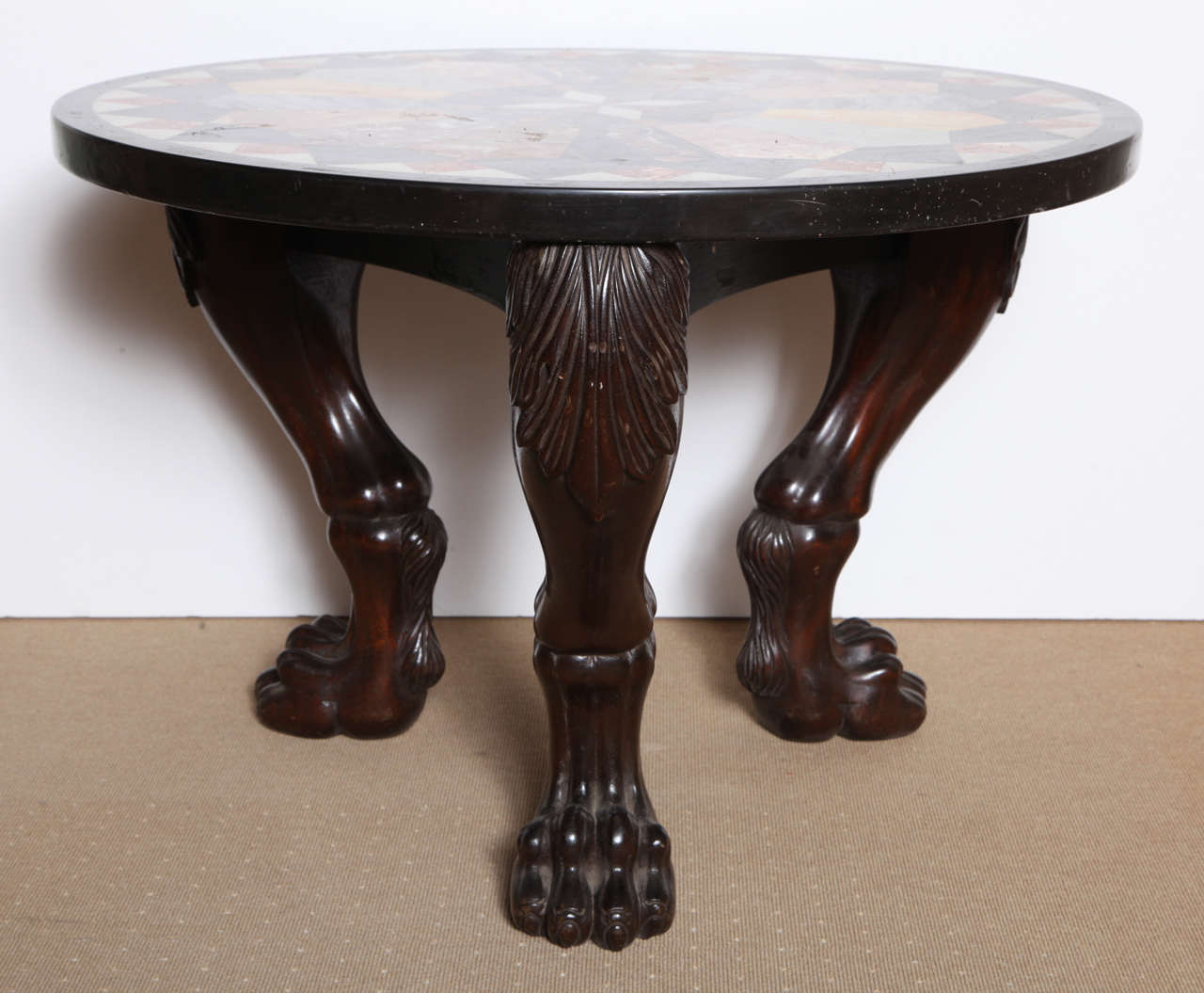 unusual coffee table with carved legs and specimen marble top for sale at 1stdibs. Black Bedroom Furniture Sets. Home Design Ideas
