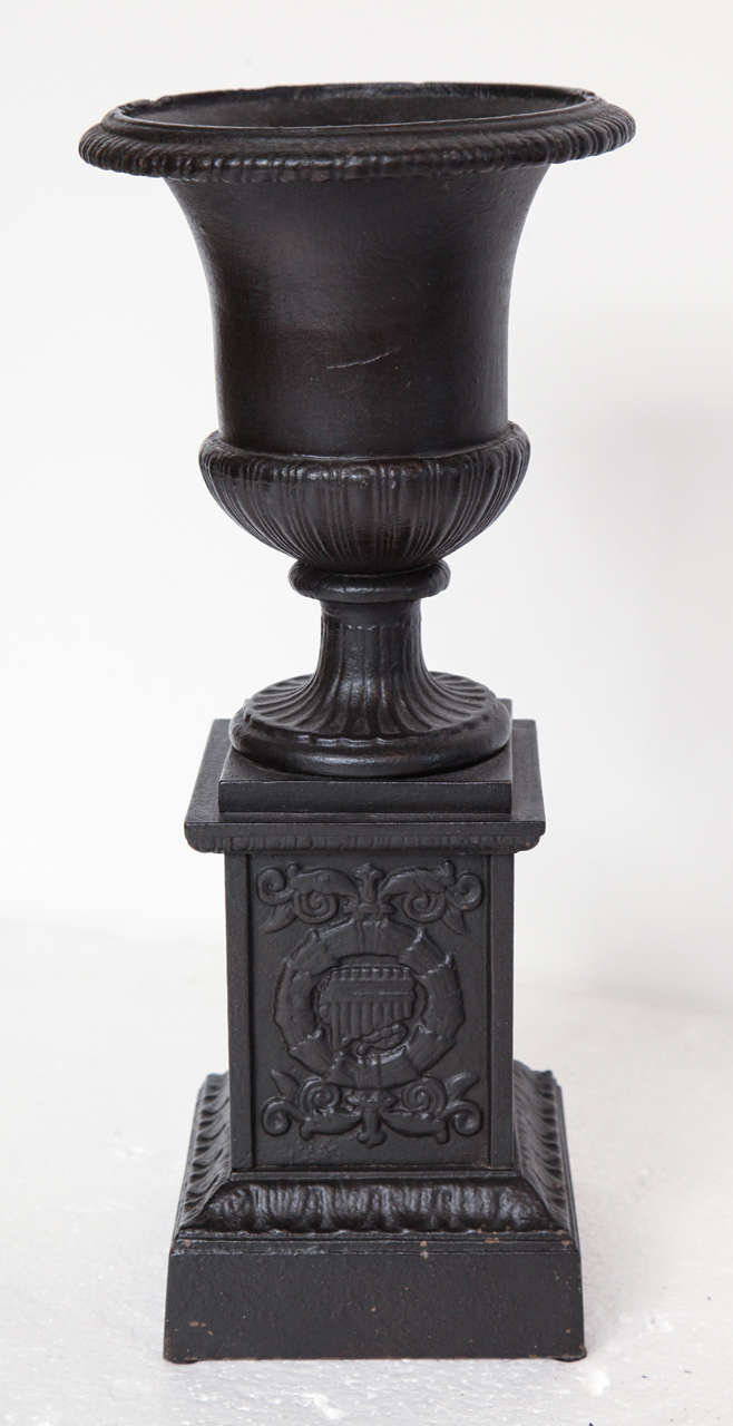 Pair of 19th Century Iron Neo-Classical Urns For Sale 1
