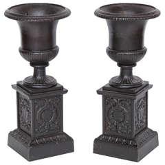 Pair of 19th Century Iron Neo-Classical Urns