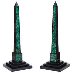 Pair of Belgian Black and Malachite Obelisks