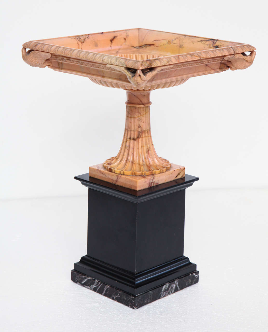 Grand Tour A Superb Sienna Marble 19th Century Tazza on a Marble Plinth For Sale