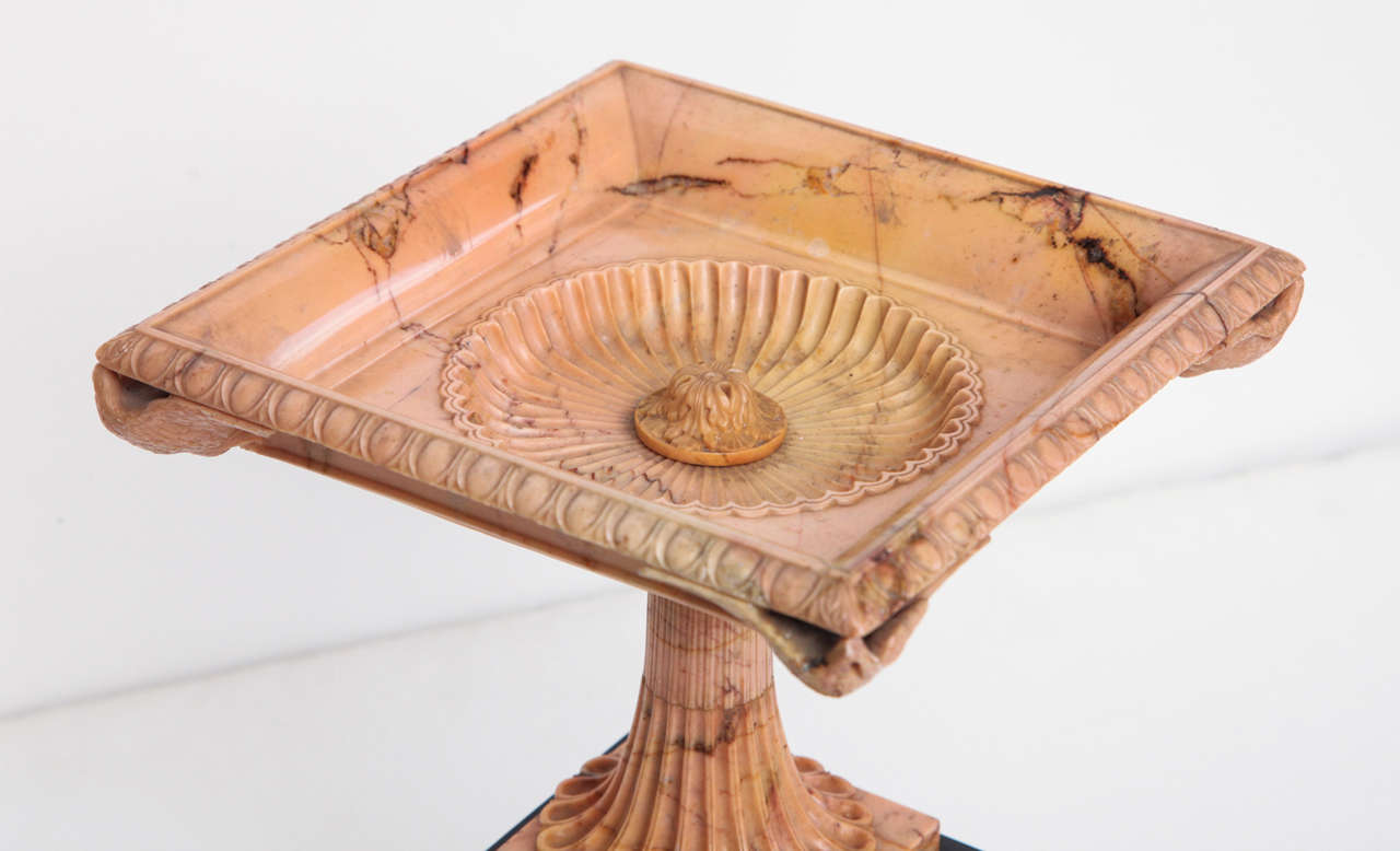 Italian A Superb Sienna Marble 19th Century Tazza on a Marble Plinth For Sale