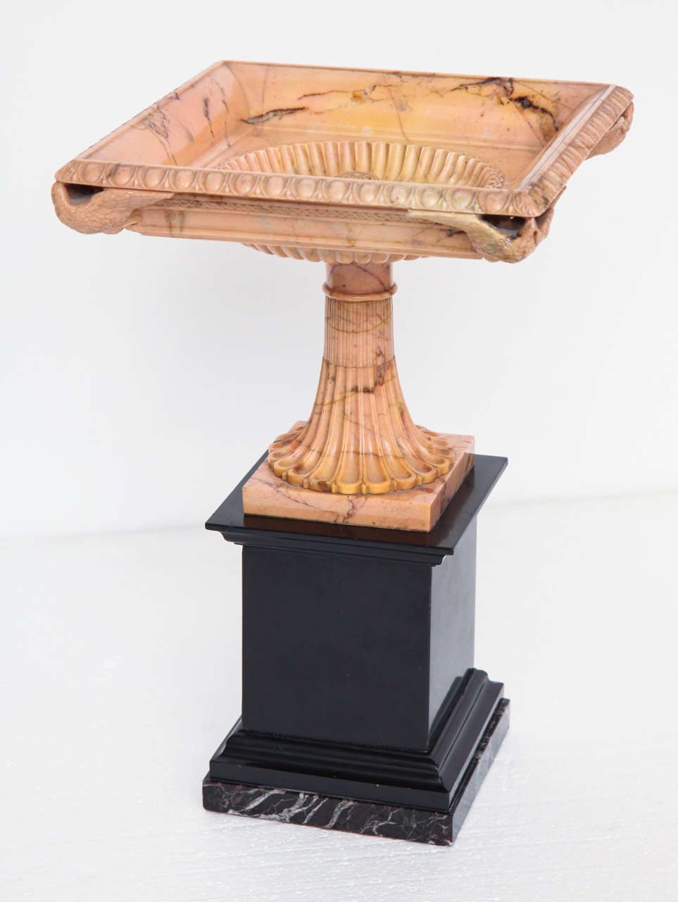 Hand-Carved A Superb Sienna Marble 19th Century Tazza on a Marble Plinth For Sale