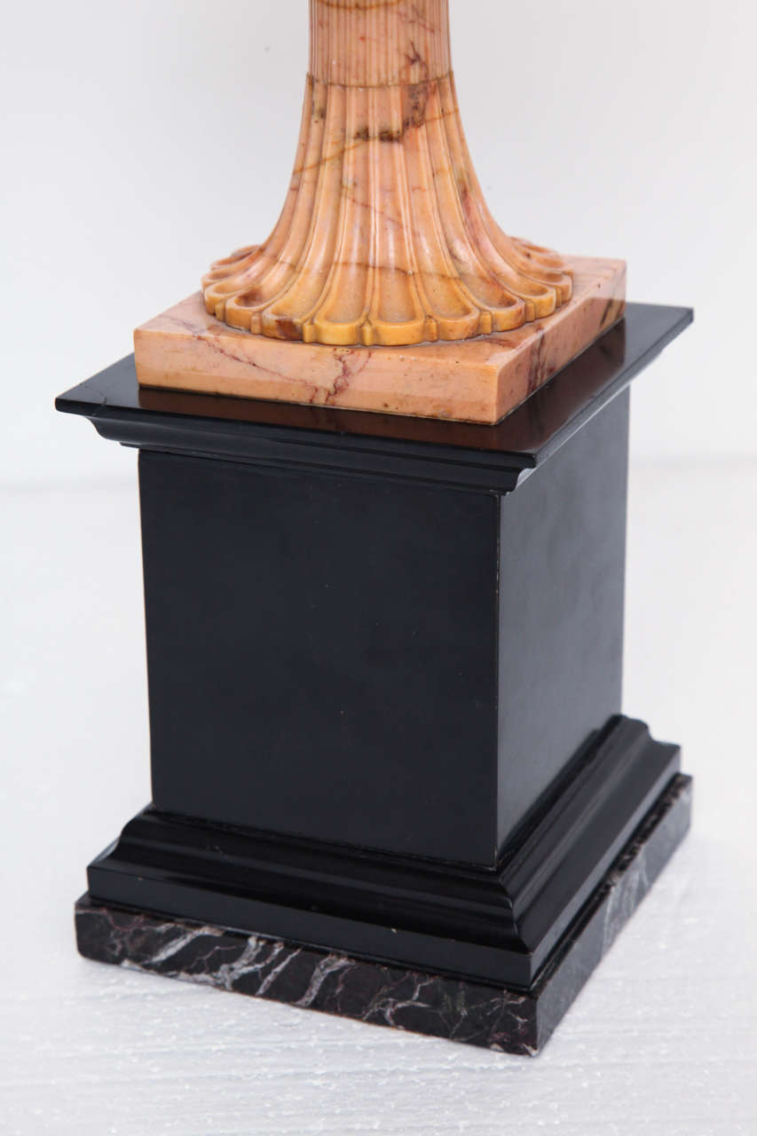 A Superb Sienna Marble 19th Century Tazza on a Marble Plinth In Excellent Condition For Sale In New York, NY