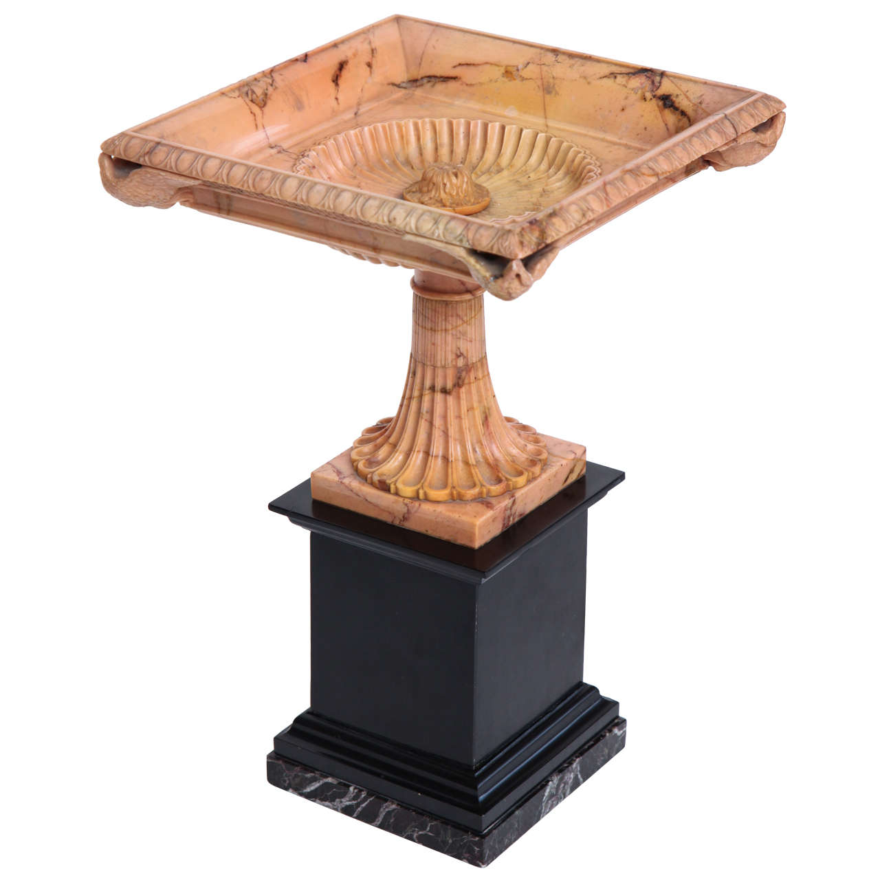 A Superb Sienna Marble 19th Century Tazza on a Marble Plinth For Sale