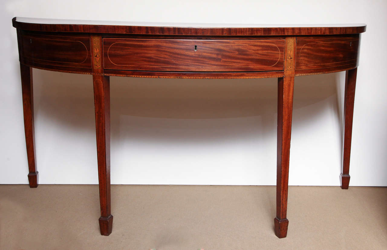 Mahogany, English Demi Lune Console Circa 1780