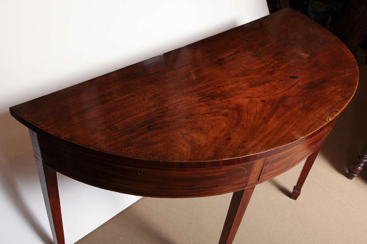 18th Century Eighteenth Century English Demi Lune Serving Table Circa 1780 For Sale