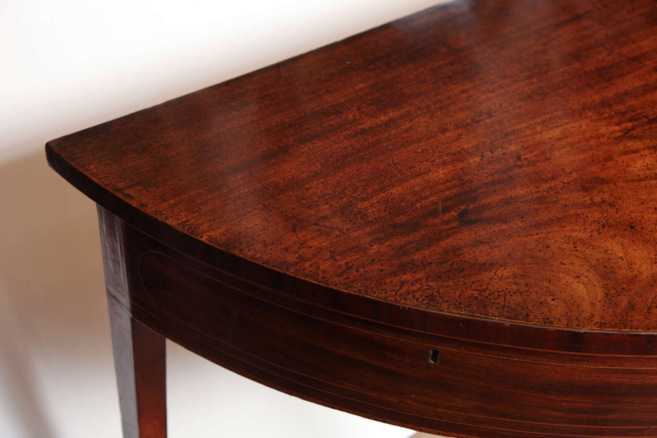 Mahogany Eighteenth Century English Demi Lune Serving Table Circa 1780 For Sale