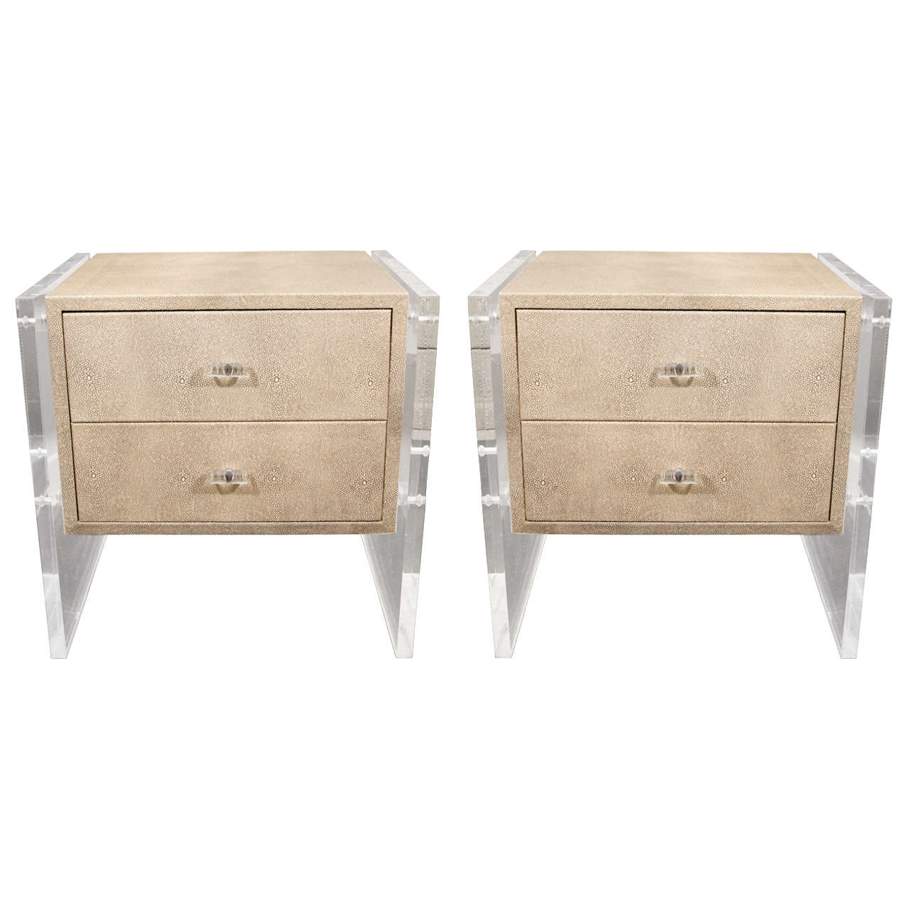 Pair Of Custom Faux Shagreen Lucite Side Panel End Tables 1