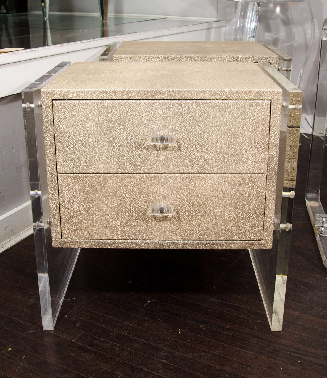 Pair Of Custom Faux Shagreen Lucite Side Panel End Tables 3