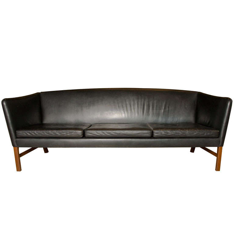 Ole Wanscher 3Seater Black Leather Sofa circa 1960 at 1stdibs