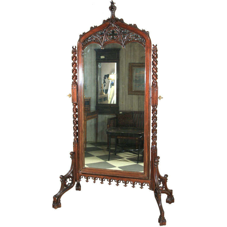 Rosewood Gothic Revival Floor Mirror At 1stdibs