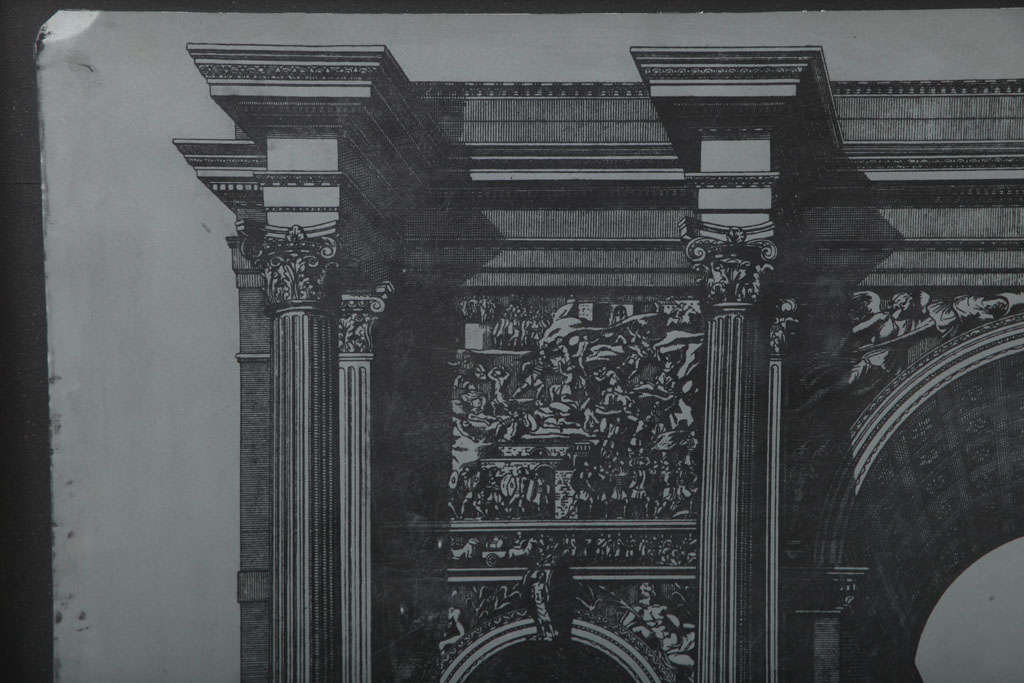 Wood Original Fornasetti Zinc Lithograph Plate of Arco Romano For Sale