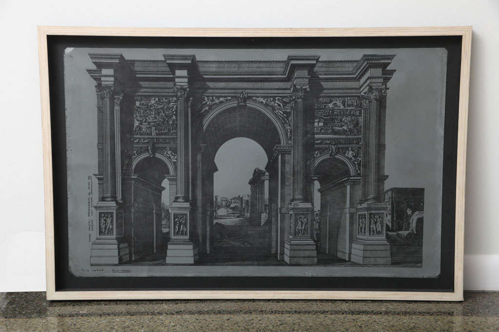 An original Fornasetti zinc lithograph plate of Arco Romano, labeled lower left 'Arco Romano'. Framed in wood. Piero Fornasetti (1913-1988), Milan. This architectural structure incorporated in the work of Piero Fornasetti is now a popular motif