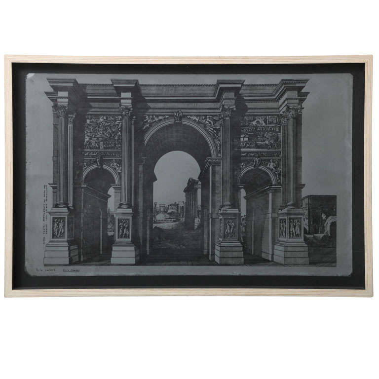 Original Fornasetti Zinc Lithograph Plate of Arco Romano For Sale