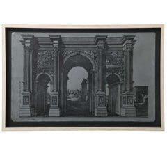 Original Fornasetti Zinc Lithograph Plate of Arco Romano