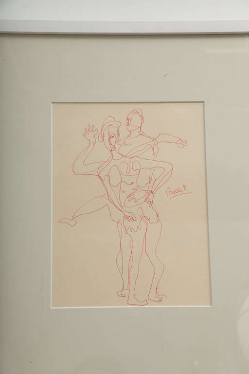 Mid-Century Modern Anthony Quinn Untitled Original Pen and Ink on Paper, 1995 For Sale