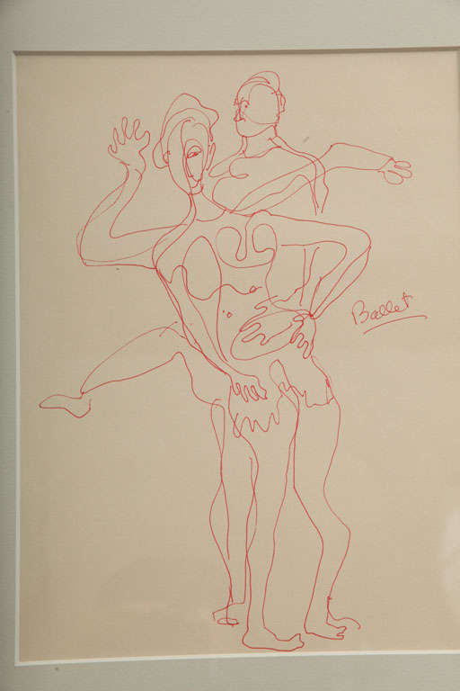 American Anthony Quinn Untitled Original Pen and Ink on Paper, 1995 For Sale