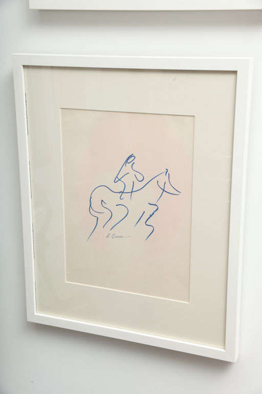 Mid-Century Modern Anthony Quinn Untitled Original Pen and Ink on Paper, 1968 For Sale