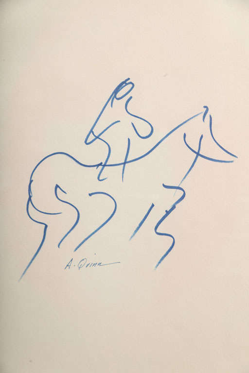 American Anthony Quinn Untitled Original Pen and Ink on Paper, 1968 For Sale