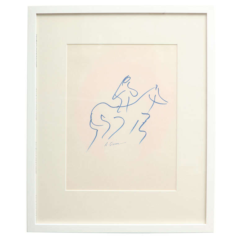 Anthony Quinn Untitled Original Pen and Ink on Paper, 1968 For Sale