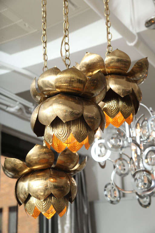 American Brass Lotus Blossom Chandelier For Sale