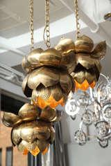 Brass Lotus Blossom Chandelier image 3