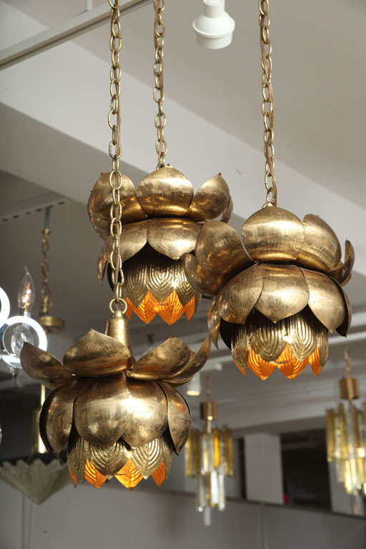 Brass Lotus Blossom Chandelier In Good Condition For Sale In New York, NY